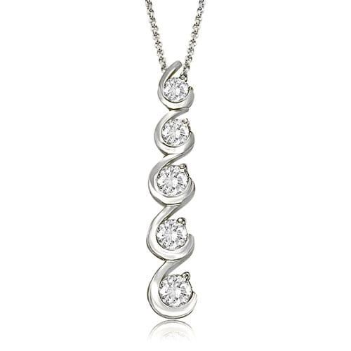 1.00 cttw. 14K White Gold Round Cut Diamond Five-Stone Swirl Journey Pendant