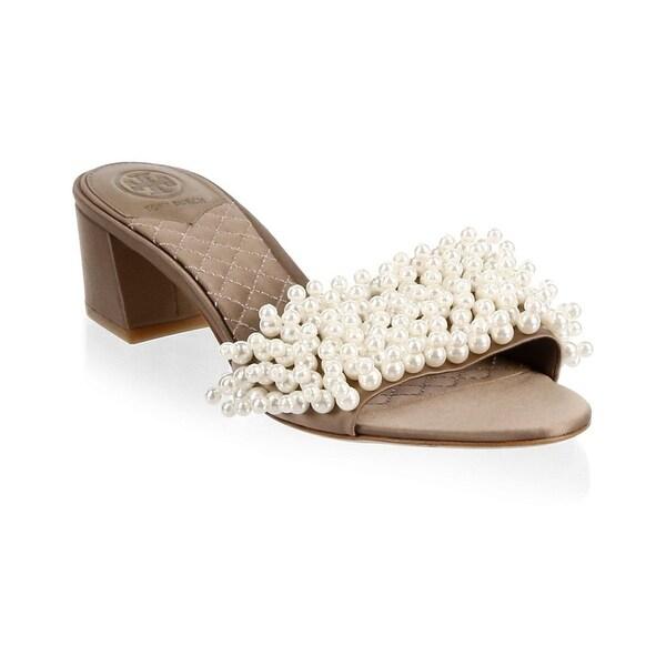 933b06a44e87 Shop Tory Burch Tatiana Satin and Pearl Embellished Slide Sandals ...