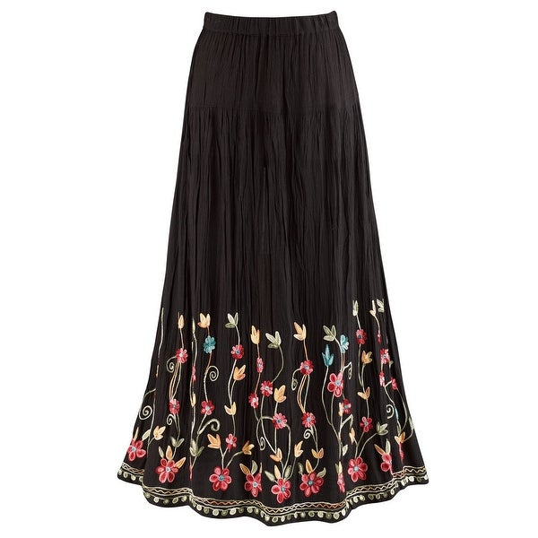 6356a9e6 Catalog Classics Women's Floral Embroidered Flowering Vines Maxi Skirt -  Black