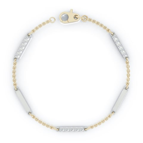 """14K Gold Diamond & Gold Bar Chain Two-Tone Station Bracelet, 7"""" (0.30 Ct, G-H, SI2-I1) by Noray Designs"""