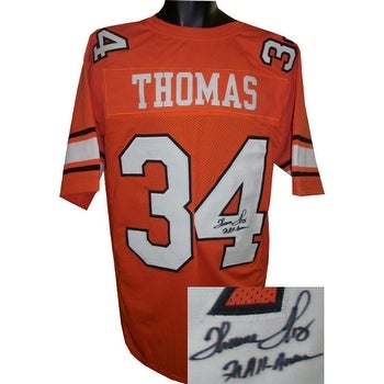 95eda5b0 Thurman Thomas signed Orange TB Custom Stitched College Football Jersey 2X  AA INSC XL minor spot