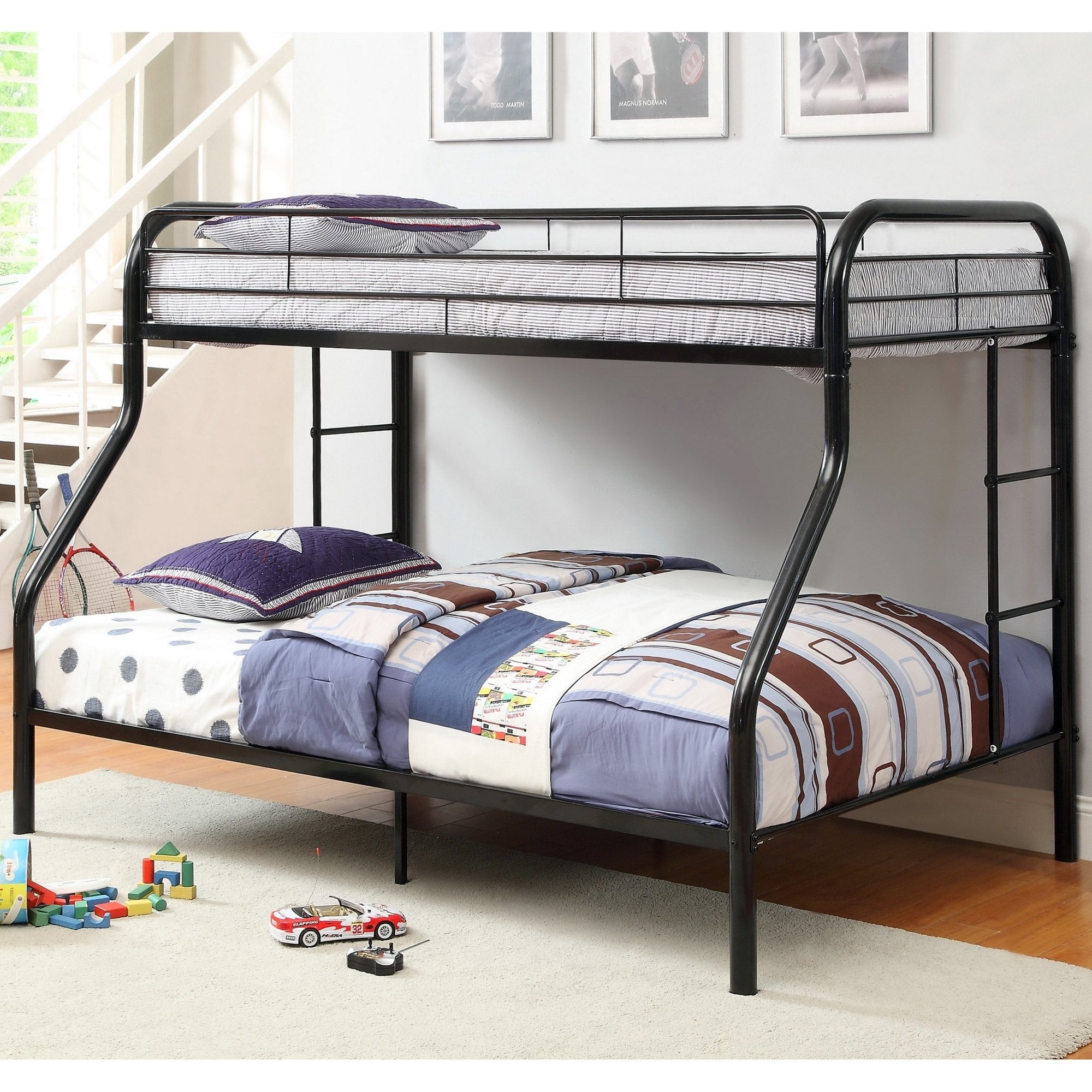 Furniture Of America Hind Transitional Orange Twin Full Metal Bunk Bed Overstock 8876701