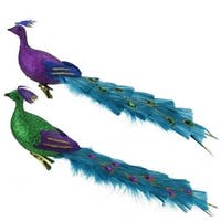 Regal Peacock Glittered Green Purple and Blue Bird Clip-On