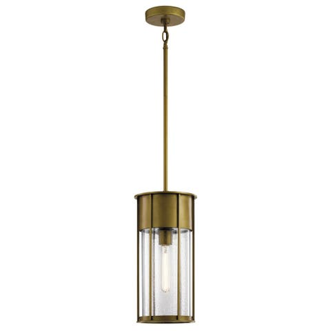 Kichler Camillo 18 Inch 1 Light Hanging Pendant with Clear Seeded Glass in Natural Brass