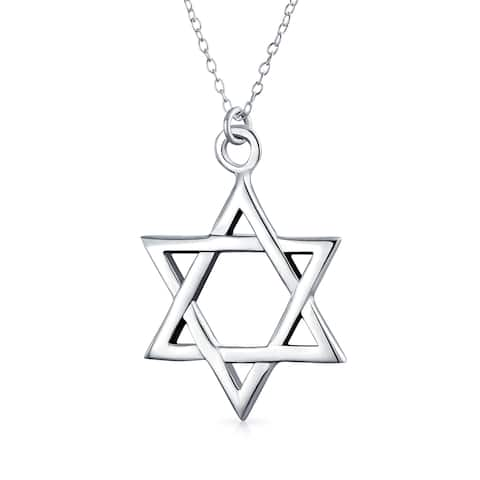 Simple Basic Hanukkah Star Of David Magen Jewish Pendant Necklace For Women For Men High Polish 925 Sterling Silver 16IN