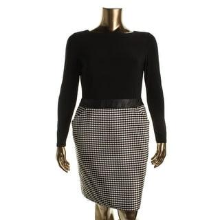 Lauren Ralph Lauren Womens Long Sleeves Mixed Media Wear to Work Dress