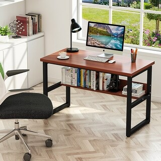Tribesigns Computer Desk with Bookshelf, Simple Modern Style Writing Desk with Metal Legs for Home Office
