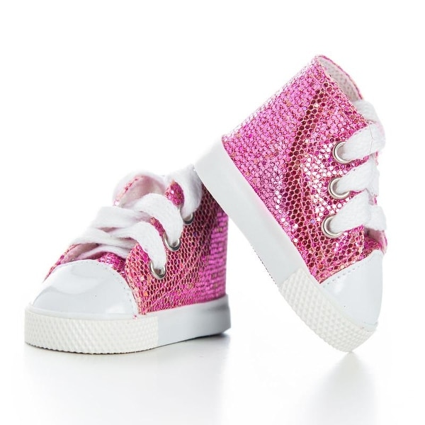 bb45bfc7eff13 Shop 18 Inch Doll Clothes Accessory, Pink Sparkle Sneaker Plus ...