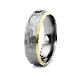 Titanium Hammered Ring with Gold Plated Edges 7mm (Sizes 8-13)