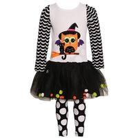 Rare Editions Little Girls White Black Cat Owl Halloween 2 Pc Legging Set 6X