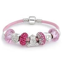 Forever Love Heart Valentine Pink Crystal Bead Charm Bracelet Genuine Leather Sterling Silver For Women Barrel Clasp
