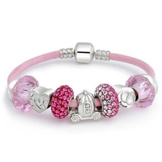 Bling Jewelry Enchanted Love Heart 925 Silver Bead Charm Bracelet Crystal Glass