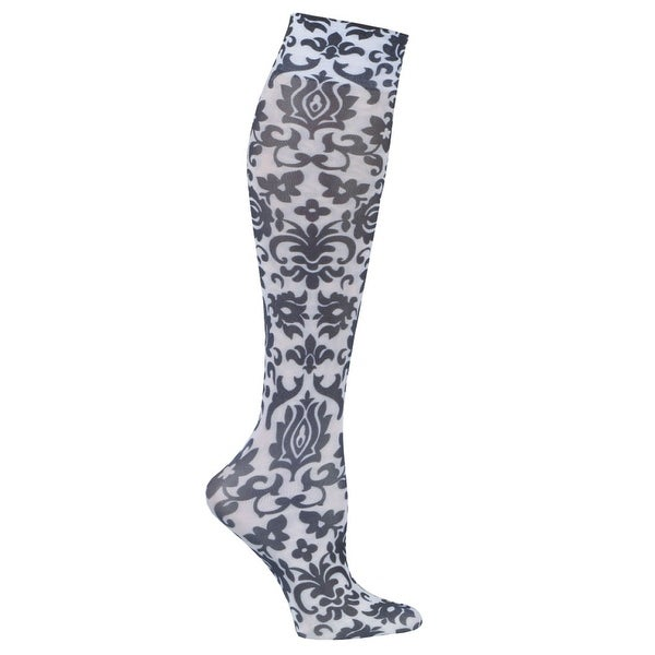 Printed Mild Compression Wide Calf Knee High Stockings - Women's - Black Fountain