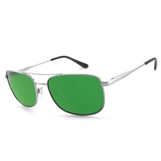 Peppers Polarized Sunglasses Style Hilo Silver with Green Mirror Lens