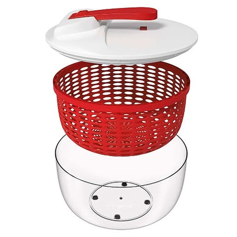 Your Choice Kitchen 3 Piece Salad Spinner with Ergonomic Crank. Red, 6.3 qt