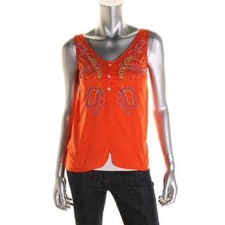 Megan Park Womens Cotton Embellished Casual Top - 00