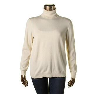 Lauren Ralph Lauren Womens Plus Zoe Silk Knit Turtleneck Top