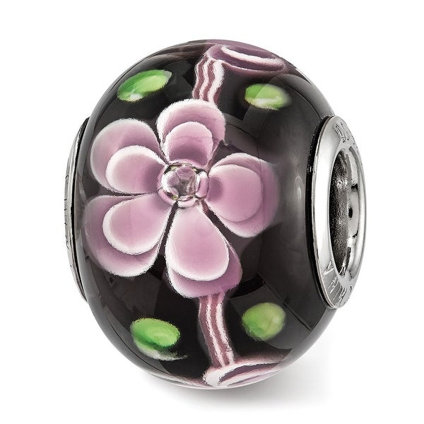 Sterling Silver Reflections Pink and Green Floral Black Glass Bead (4.5mm Diameter Hole)