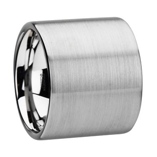 MORRISON Flat Pipe Cut Tungsten Carbide Ring with Brushed Finish - 20 mm