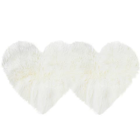 Double Heart Shaped Faux Area Rugs 4 x 2 Ft