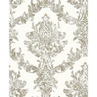 Graham and Brown 101469 56 Square Foot - Opal Damask White and Gold - Non-Pasted Vinyl Wallpaper - N/A