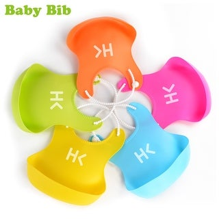 2pcs Portable Adjustable Waterproof Toddler Baby Bibs w/ Big Pocket BPA Free Easily Clean Comfortable 5 Colors