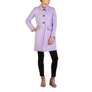 Miu Miu Women's Virgin Wool Three-Button Trench Coat Purple