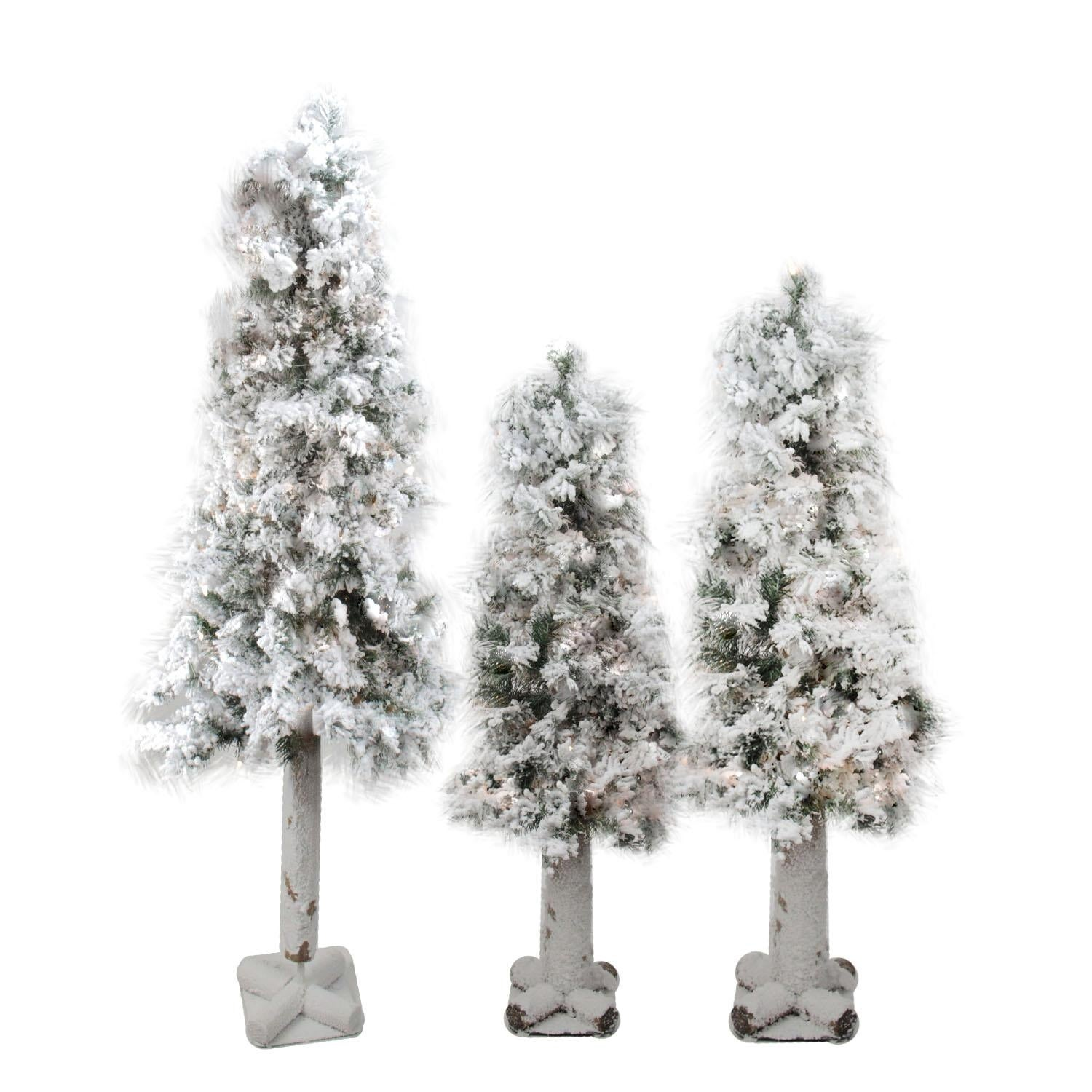 Set Of 3 Pre Lit Flocked Woodland Alpine Artificial Christmas Trees 3 4 And 5 Unlit Overstock 13622927