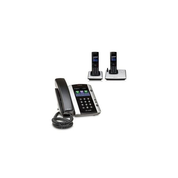Polycom 2200-48500-001 VVX 501 12-line Business Media Phone with power supply & 2 VVX D60 Handset