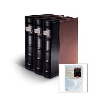 Bellagio-Italia Brown Leather CD/DVD Binder with 8 Bonus Insert Sheets