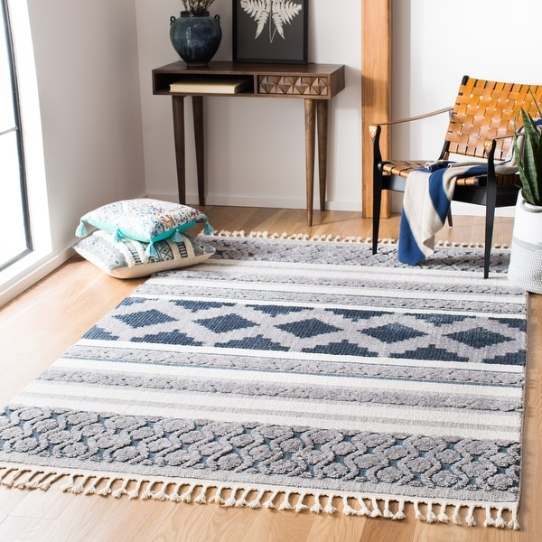 Safavieh Marrakech Bohemian & Eclectic Oriental Ivory/Blue Polyester Rug