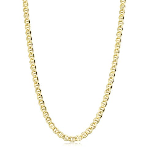14k Yellow Gold Filled 5.1 millimeter Mariner Link Chain Necklace (16-36 inch)