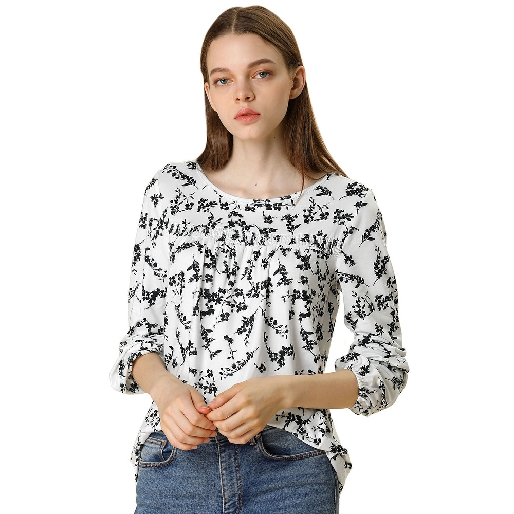 Women Long Sleeve Pleated Loose Retro Floral Blouse Top
