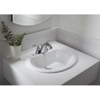 """Kohler K-2699-8 Bryant 17-3/8"""" Drop In Bathroom Sink with 3 Holes Drilled and Overflow"""