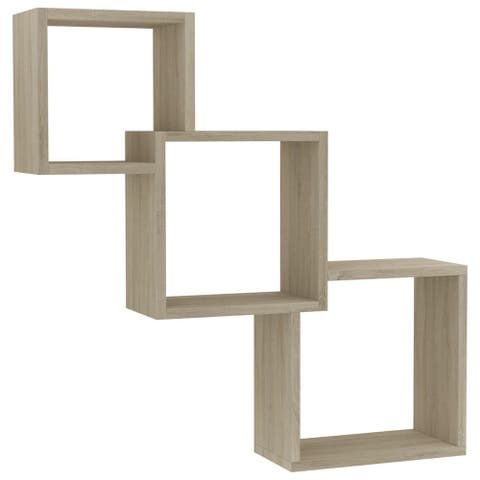 "vidaXL Cube Wall Shelves Sonoma Oak 33.3""x5.9""x10.6"" Chipboard"