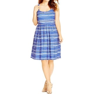 City Chic Womens Plus Casual Dress Striped Scoop Neck