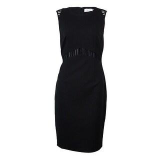 Calvin Klein Women's Cutout-Trim Solid Sheath Dress
