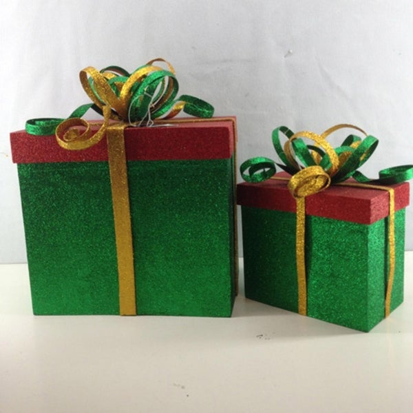 "2 Piece Green, Red and Gold Glittered Gift Box Christmas Decoration 14"" & 11.5"""