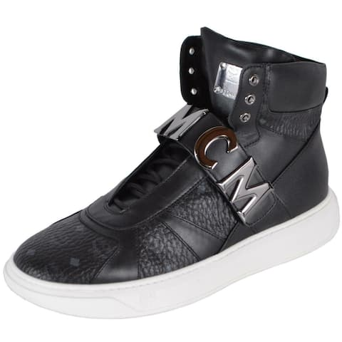 MCM Men's Black Leather Visetos Logo High Top Sneakers Shoes W/Plaque