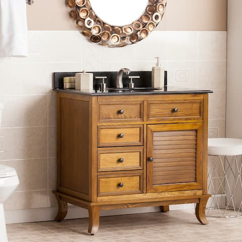 Washington Weathered Oak/ Black Granite Top Bath Vanity Sink