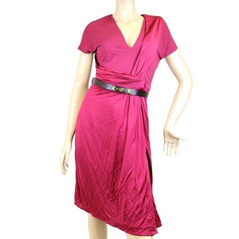 Gucci Women's Maroon Rayon Elastane V Neck Dress Belt 271398 - Small