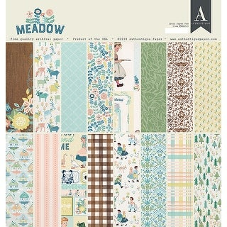"""Authentique Double-Sided Cardstock Pad 12""""X12"""" 24/Pkg-Meadow, 8 Designs/3 Each"""