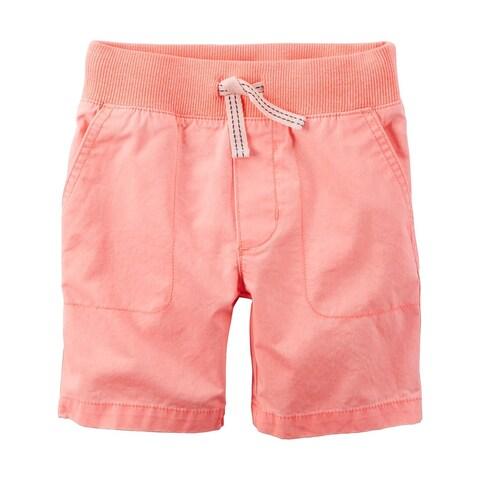 Carter's Baby Boys' Twill Shorts, Orange, Blue Tie, 3 Months