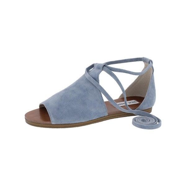 332f42e51e0b Shop Steve Madden Womens Elaina Flat Sandals Suede Lace-Up - Free ...