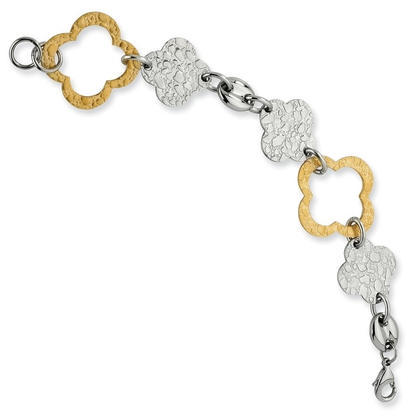 Chisel Stainless Steel Gold IP Plated Fancy Link Bracelet