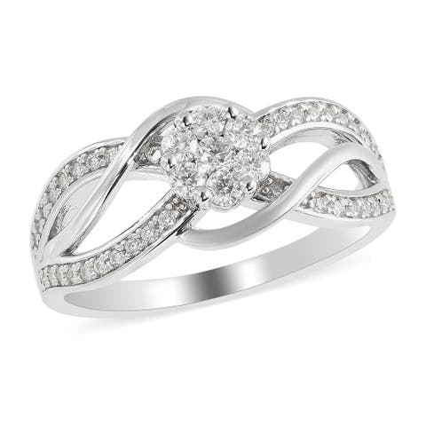 Shop LC 925 Sterling Silver Round Moissanite Wave Inspired Bypass Ring