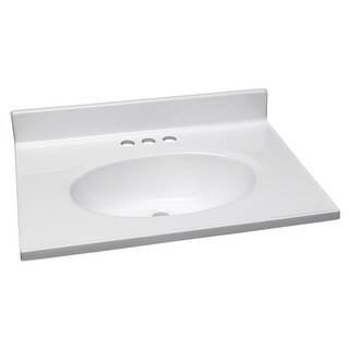 "Design House 552000 25"" Marble Drop-In Vanity Top with Integrated Sink and 3 Fau - Solid White"