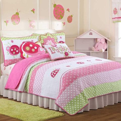 Porch & Den Cami Pink Ladybug 3-piece Quilt Set With Decorative Pillows