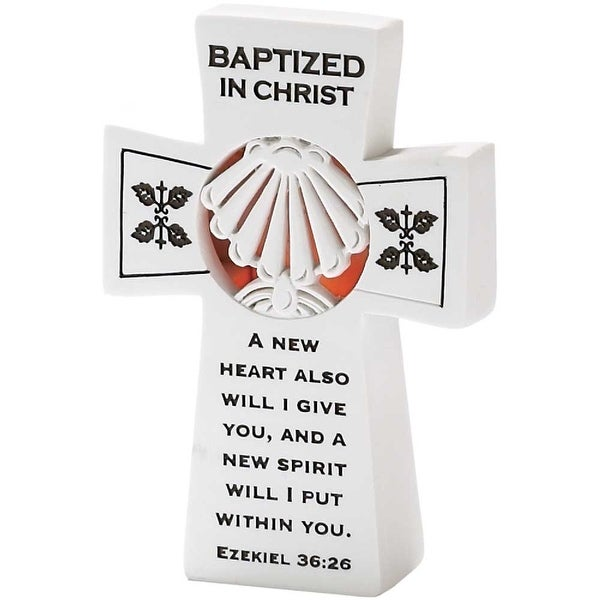 """5"""" Battery Operated """"Baptized In Christ"""" Lighted Tabletop Cross - N/A"""