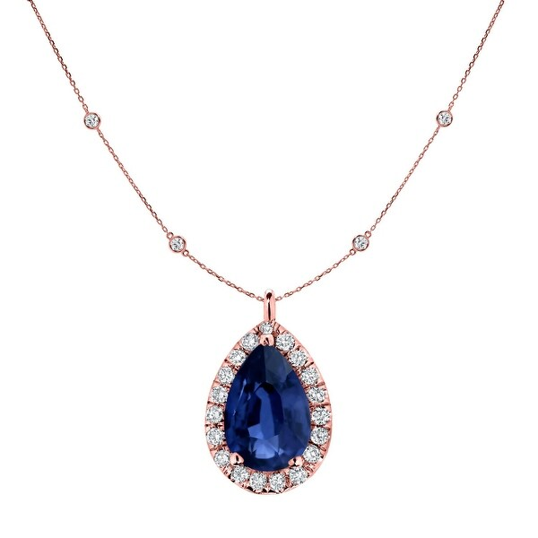 Auriya 14k Gold 1ct Pear-cut Sapphire and Halo Diamond Chain Station Necklace 1 3/5ct TDW